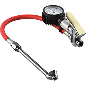 "Premium Dually Tire Inflator Gauge 2"" Pressure Reader Dual Chuck Nozzle Design Reaches Inner Wheel Stems"
