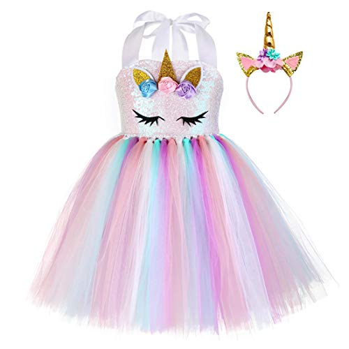 Pastel Unicorn Tutu Dress for Girls Kids Birthday Party Unicorn Costume Outfit with Headband]()