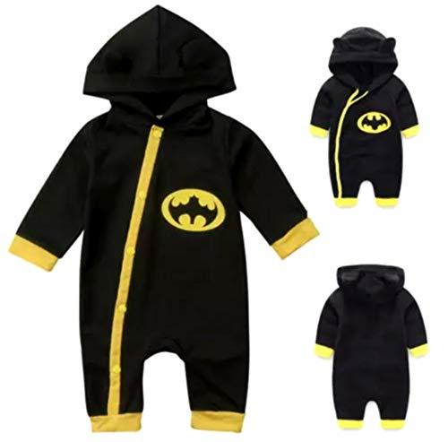VogueFashion Halloween: Baby Superhero Jumpsuit with Removable Cape (12-18 Months, Black Batman) -