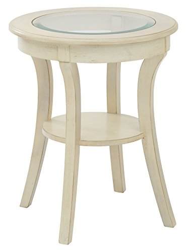 Glass Antique End Table - Office Star Harper Hand Painted Round Accent Table with Glass Top, Antique White Finish