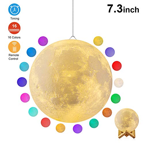 Moon Lamp, GDPETS 3D Printing Moon Night Light with Stand, Touch& Remote Control 3D Moon Lamp 16 Color Decorative Moon Light for Baby Kids Friend Birthday Christmas Party Gifts (7.3 inch)