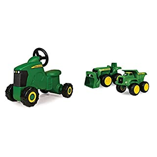 TOMY John Deere Sit-N-Scoot Tractor Toy, Green, One Size & John Deere Sandbox Vehicle (2 Pack)
