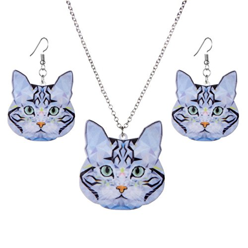 ptk12 Rinhoo Fashion Acrylic Statement Animal Cat Necklace Drop Earrings Jewelry Sets Jewelry by ptk12