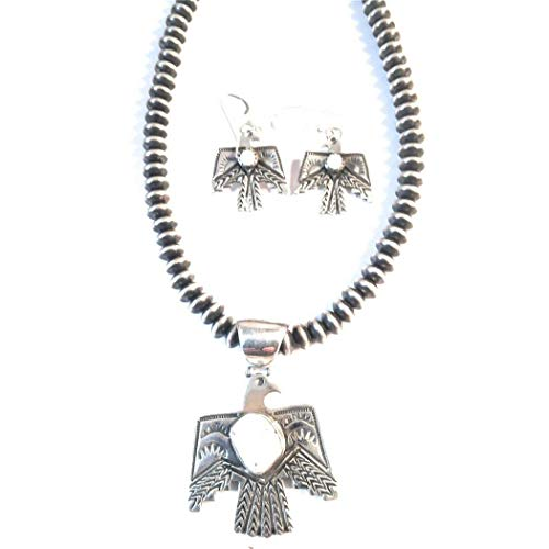 (Navajo Sterling Silver White Buffalo Pendant And Earring Set Signed)