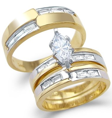 Size- 6 - Solid 14k Yellow and White Gold CZ Engagement Wedding His and Hers Trio Three Piece Ring Set