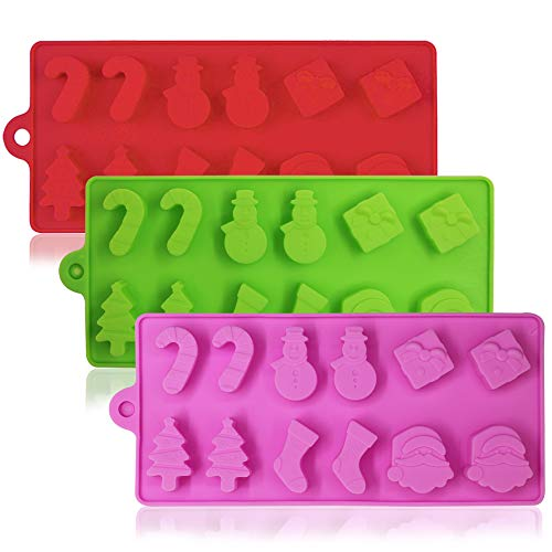 (3 Pack Silicone Christmas Candy Molds, YuCool Non-Stick Cake Chocolate Jelly Baking Trays Pan for Party Decoration, Xmas Gift,with Shape of Christmas Tree, Santa Head -)