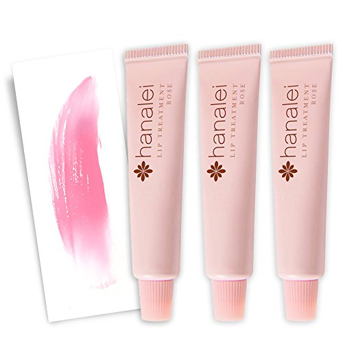 Lip Treatment (Rose) 3 Pack Travel Set by Hanalei, Made with Kukui Oil, Shea Butter, Agave, and Grapeseed Oil Soothe Dry Lips, 3 x 5g (Cruelty free, Paraben Free) MADE IN USA