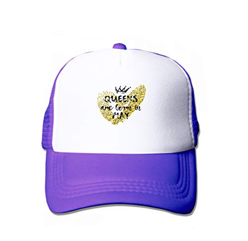 Cotton Baseball Cap Adjustable Trucker Hats Popular Phrase Queens Born May Freehand Crown Heart Template de Purple ()