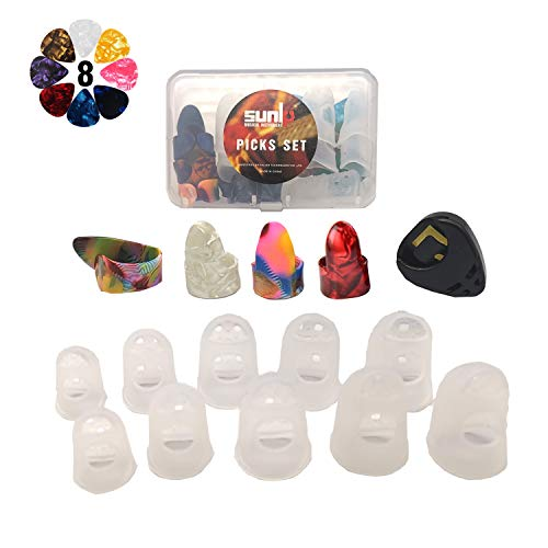 SUNLP Thumb Finger Picks, Guitar Finger Fingertip Protectors, Guitar Picks, Pick Holder, Gift Set Kit useful for Acoustic Guitar Ukulele Kalimba Starter & Other String Instruments