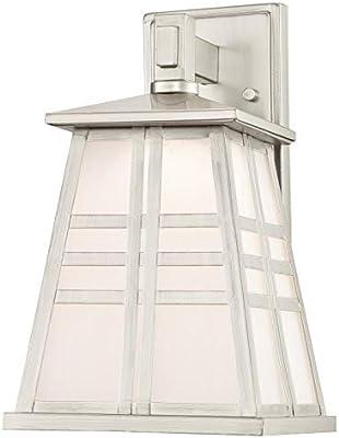Westinghouse Lighting 63396 Lámpara de Pared para Exteriores con LED Regulable, Acabado en níquel Cepillado con Vidrio fantasía Esmerilado, 12 W: Amazon.es: Iluminación
