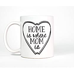 Most Toasty Home Is Where Mom Is Heart Ceramic Coffee Mug, 11 Ounce, White