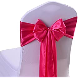 iEventStar Satin Sash Chair Bow Cover Wedding Banquet Party Decoration (10, Fuchsia)