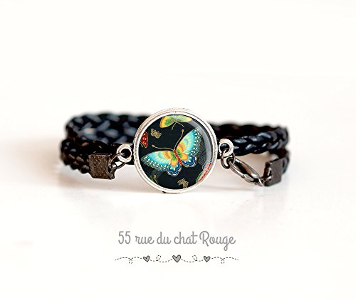 Black double braid bracelet, cabochon Butterfly turquoise and black, inspiration from Japan