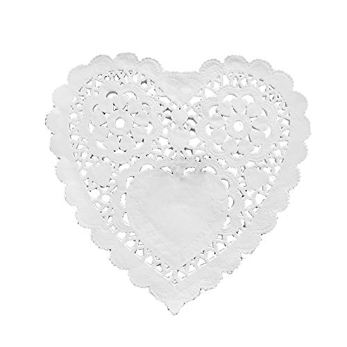 White Foil Heart Lace Paper Doilies Cake Packaging Paper Mat Doily 10 Inch 100 pcs ()
