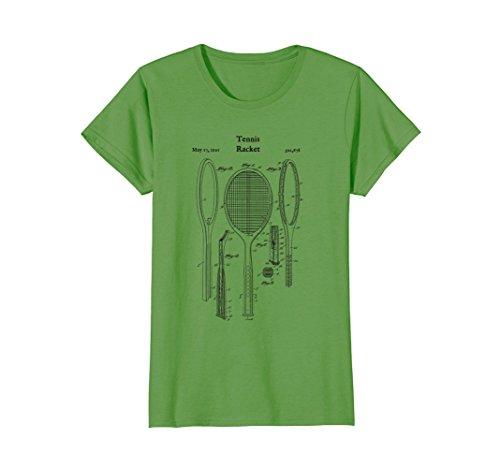 Racket Shoes - Womens Vintage Tennis Racket Blueprint Shirt - Court Shoes Racquet Small Grass