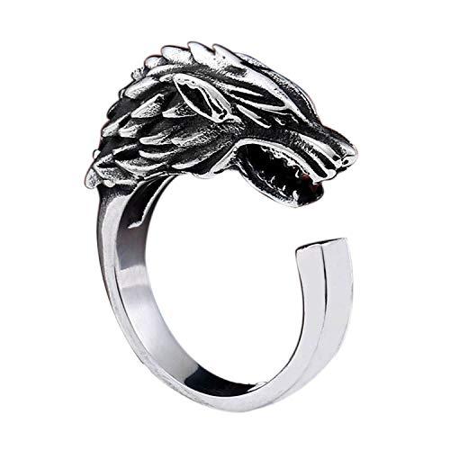 BAVAHA Game Thrones Ice Wolf House Stark Winterfell Animal opend Ring Fashion Jewelry (Ice Wolf, 11)