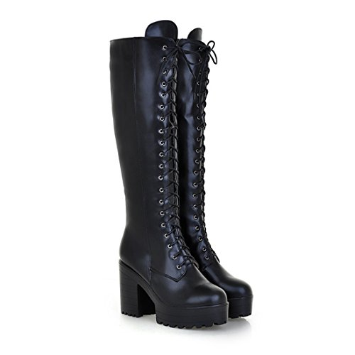 Mostrin Women's Lace-up Casual Chunky Heel Platform Knee High Combat ()