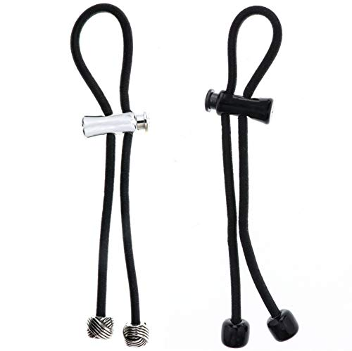 - Pulleez Knot Charm 2 Pack- Silver Knot Charm with Black Elastic, Black Acrylic with Black Elastic- Sliding Ponytails Holders, 1 ea