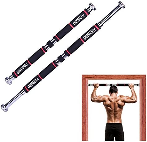 ONETWOFIT Pull Up Bar Doorway Chin Up Bar Household Horizontal Bar Home Gym Exercise Fitness 25.6 to 33.5 Inches Adjustable Length