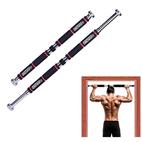 OneTwoFit Pull Up Bar Doorway Chin Up Bar Household Horizontal Bar Home Gym Exercise Fitness(25.6 to 33.5 Inches Adjustable Length)HK664