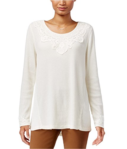 Style & Co. Womens Petites Lace-Trim Waffle-Knit Thermal Top Ivory PXL (Tops Trim Waffle Knit)