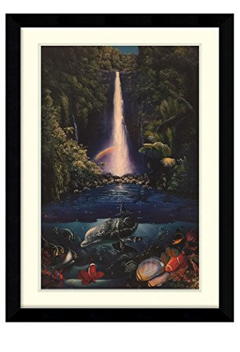 ''Kahana Falls'' By Christian Riese Lassen Glossy Finish Poster Art Print (Framed & Matted) 35.75x26.25 by ImpactInt