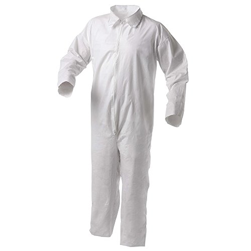 Kleenguard A35 Disposable Coveralls (38916), Liquid and Particle Protection, Zip Front, Open Wrists & Ankles, White, Small, 25 (Kleenguard A35 Liquid)