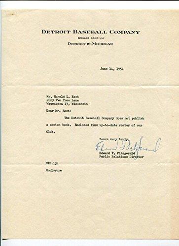 Edward-T-Fitzgerald-Detroit-Tigers-Executive-PR-Director-Signed-Autograph-TSL-MLB-Autographed-Miscellaneous-Items