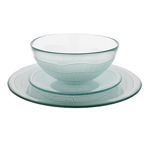 French Home Recycled Glass Ice Dinner Set, Clear (Glass Sets Clear Dinnerware)