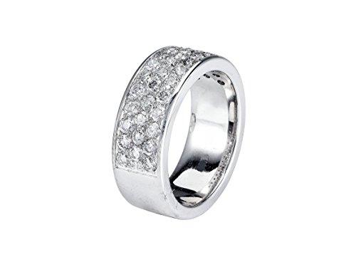 18k White Gold Three Row Women's Diamond Wedding Band - (1.3 TCW SI1 Clarity GH (18k White Gold 3 Row)