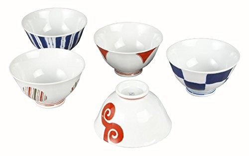 Saikai Pottery Traiditional Japanese colorful patterns Japanease Rice Bowls (5 bowls set) 13351 from Japan