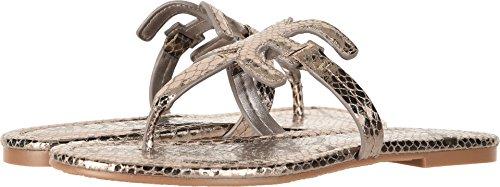 Sam Edelman Womens Carter Sandalo Piatto In Peltro Metallico Stampa Boa Serpente
