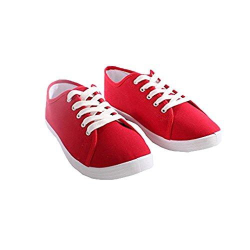 Damen Stiefel Damen Schuhe Pumps Wohnungen Plimsoll Leinwand Schnüren Oben Turnschuhe Turnhalle Größe 3-8 Rot 2