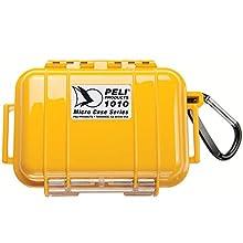 PELI 1010 Estuche estanco para guardar el Smartphone y objetos pequeños, IP67 estanco e impermeable al polvo, 0,3L de capacidad, fabricado en EE.UU., color amarillo/color negro