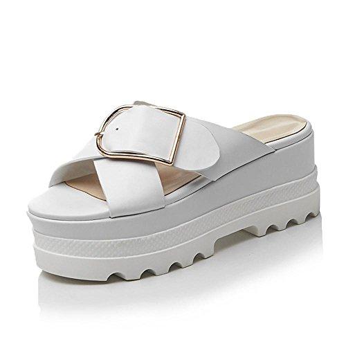Sandalias Cuña Mujer Cinturón de Metal Zapatillas de la Hebilla,GJDE B