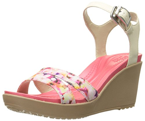 crocs Women's Leighii Anklestrap Graphic Wedge Sandal, Stucco/Gold, 9 M - Buckle Croc