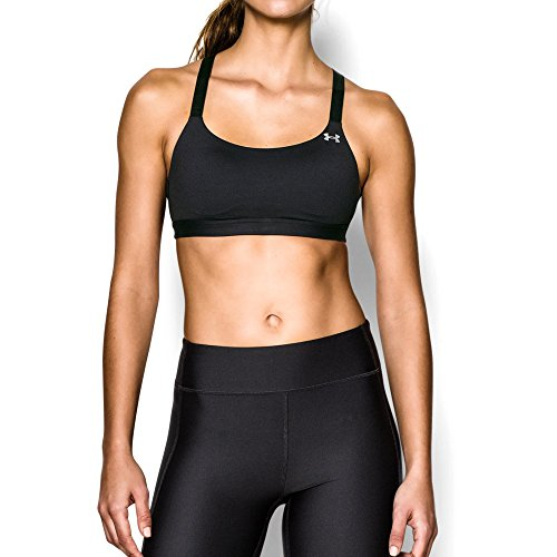Under Armour Women's Armour Eclipse Bra, Black/Metallic Silver, X-Small