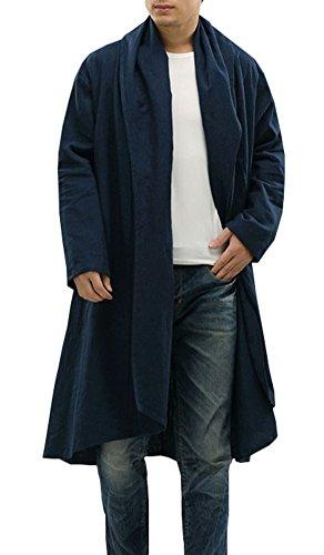 Plaid&Plain Men's Casual Linen Loose Shawl Collar Long Trench Coats Jackets Navy