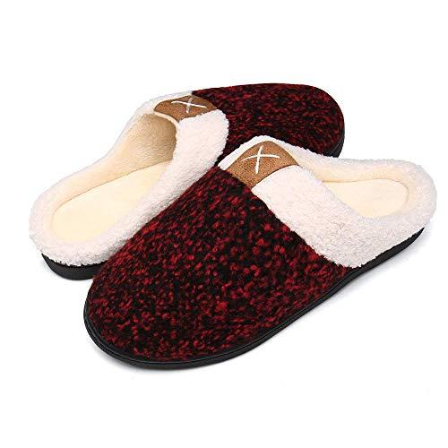 Bocianelli Womens Cozy Memory Foam Slippers Fuzzy Wool-Like Plush Fleece Lined House Shoes w/Indoor (9-10,Wine Red)