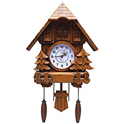 Olici Wall Art Decoration The Cuckoo Clock Wall Color Pastoral Cartoon Living Room Children'S Room Watch The Bird Strike,Wood Color