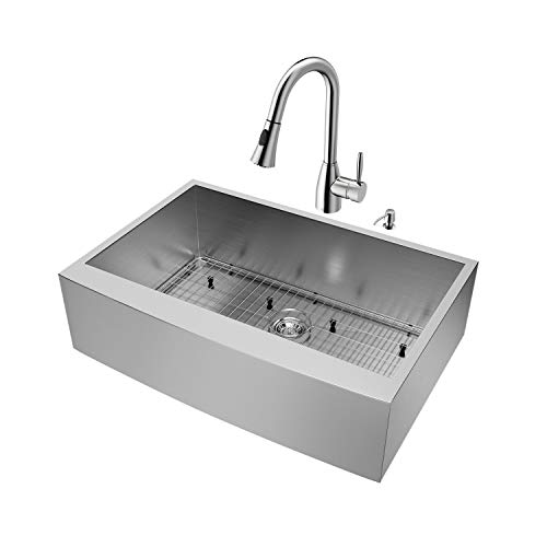 (VIGO 33 inch Farmhouse Apron Single Bowl 16 Gauge Stainless Steel Kitchen Sink with Aylesbury Stainless Steel Faucet, Grid, Strainer and Soap Dispenser)