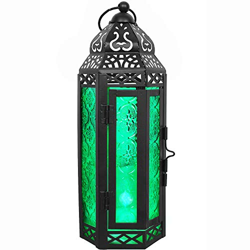 LIVEDITOR LIGHTING Gifts & Décor Glass Metal Moroccan Candle Holder Hanging Lantern for Patio Indoors/Outdoors Parties and Weddings Décor Lights (Green) (Lantern Green Glass)