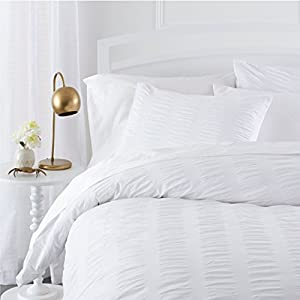 Pinzon Seersucker Duvet Cover Set - Full/Queen, White