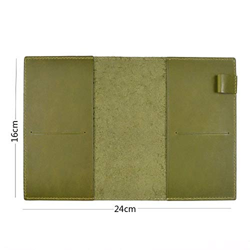 Vintage Notebook Planner Book Cover A5 A6 For Original Drawing Sketchbook,Olive Green A6,With Insert