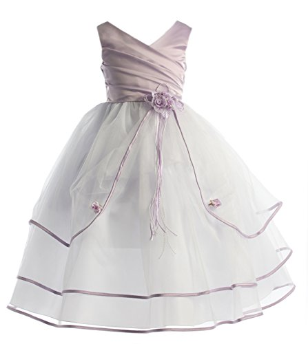 iGirlDress Lilac/White Sleeveless Satin Bodice with Triple Tulle Layers Flower Girl Dress 2-16 (7-8) (Bodice Satin Sleeveless)