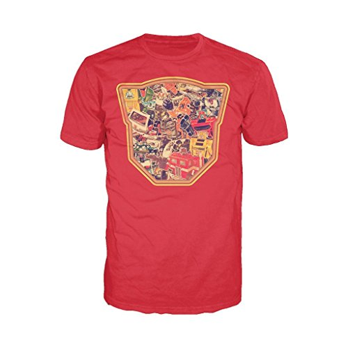 Transformers Autobot Montage Logo Official Men's T-Shirt (Red) (X-Large)