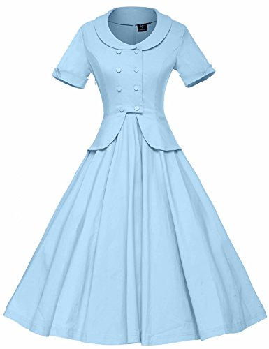 GownTown Women's Vintage 1950s Retro Rockabilly Prom (1950s Womens Clothes)