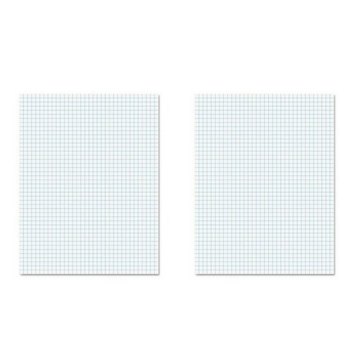 Ampad 8 1/2 x 11 Inches White Quad Pad, 4 Square Inch, 50 Sheets, 1 Each (22-030C) (2 Pack) by Ampad