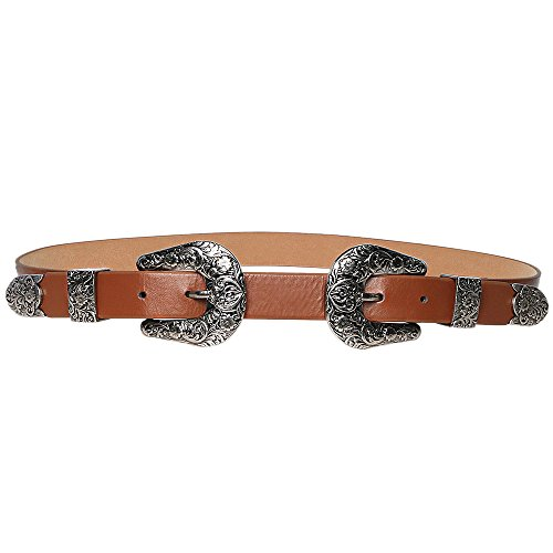 Wink Gal Women's Boho Metal Western Double Buckle Belt (Women's Western Outfits)