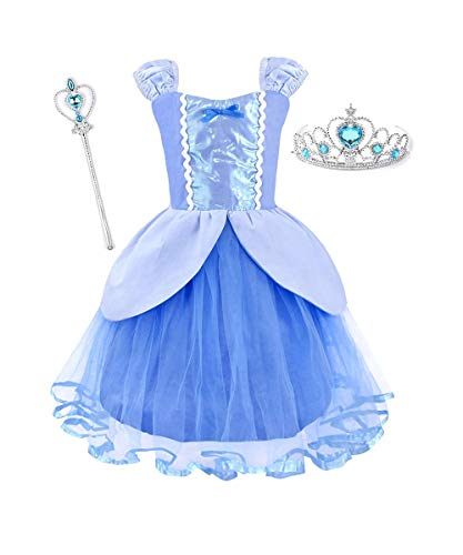 LENSEN Tech Princess Rapunzel Costume Baby Girls Dress with Crown Mace (Blue, 5-6 Years) ()